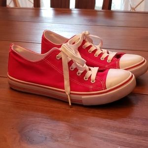 Red converse style shoes size 10